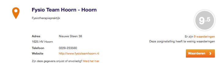 Mooie beoordelingen Zorgkaart Nederland!